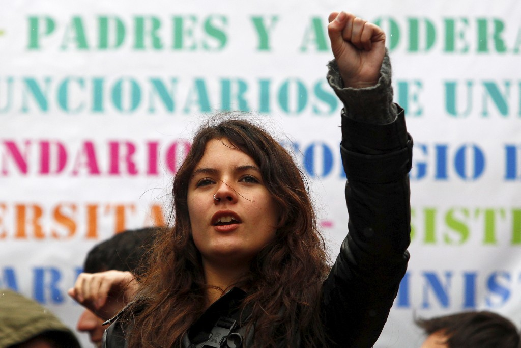 Камила Вайело по време на студентско шествие на 18 август 2011 г. Снимка: Marcelo Hernandez
