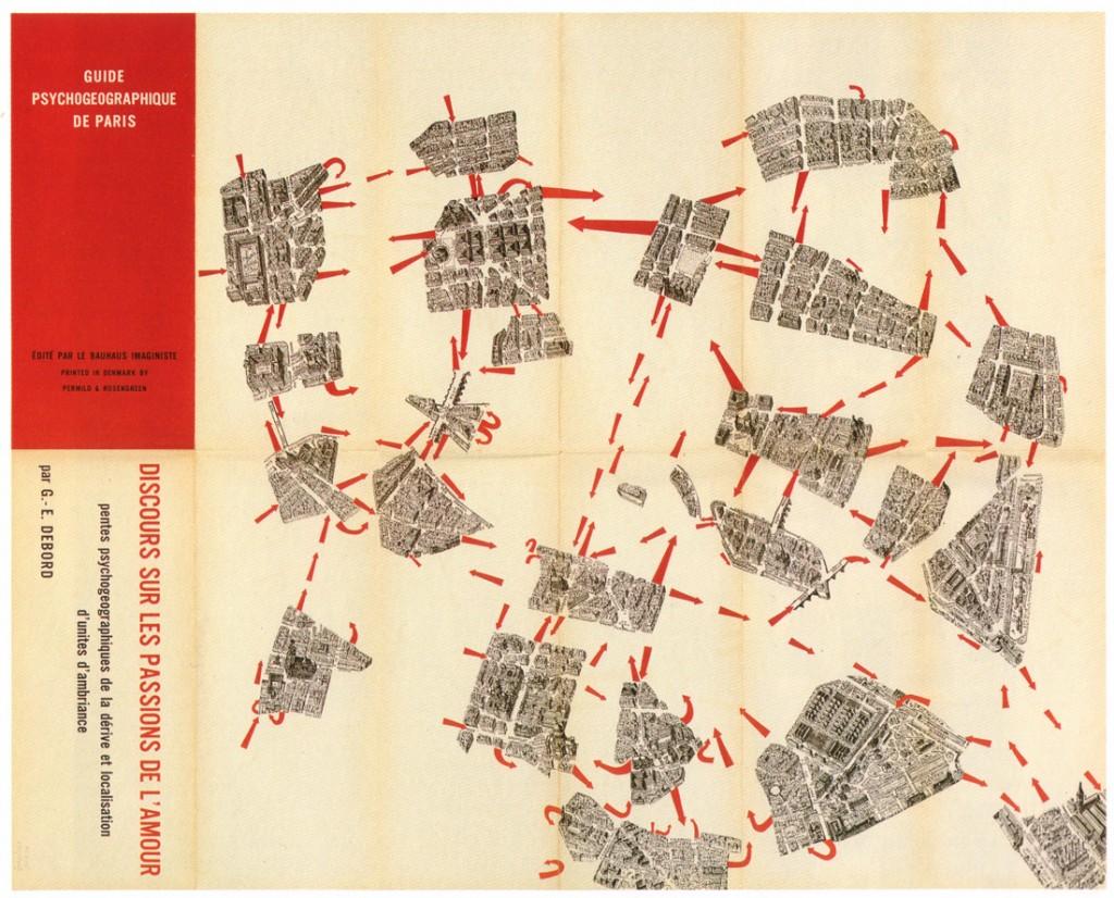 Психогеографска карта на Париж, направена от Ги Дебор.