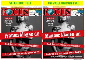 """Колаж: """"Мъжете обвиняват. След секс-атаките от мигранти: ще загубим ли и последното си право?"""". Източник: FB профил на Lorenz Meyer. Всички права на автора."""