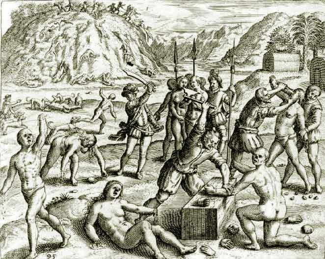 Армията на Колумб изрязва ръцете на араваките, които не са донесли достатъчно злато. Рисунка от книгата на Барталоме де лас Касас.