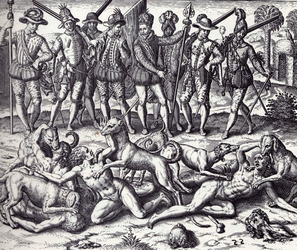 Балбоа пуска кучета срещу индианците, худ. Теодор де Бри