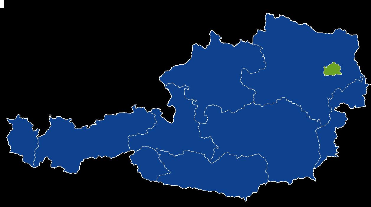 Карта, показваща победителя в първия рунд на президентските избори в Австрия. В синьо са районите, където на първо място е претендентът от крайната десница, в зелено (Виена) кандидатът на Зелените.
