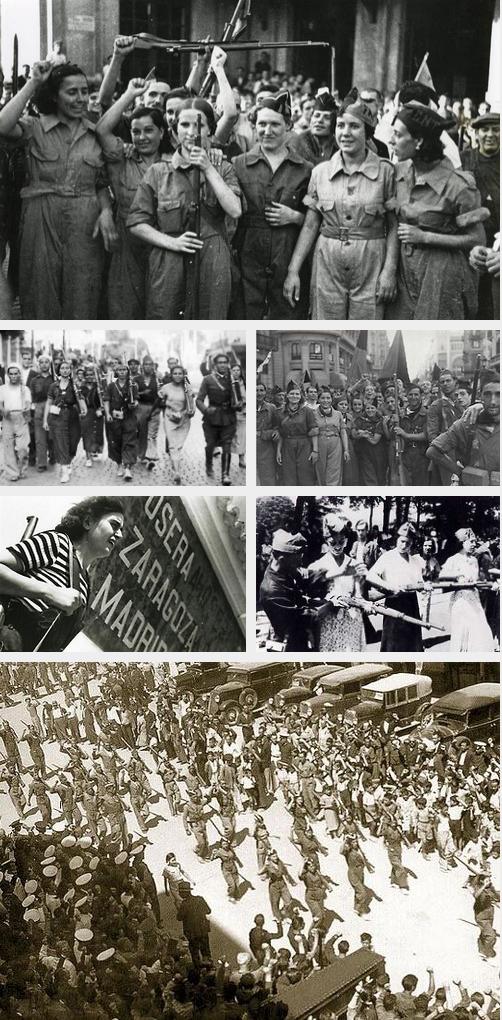 Кадри на анархисти от Испанската гражданска война.