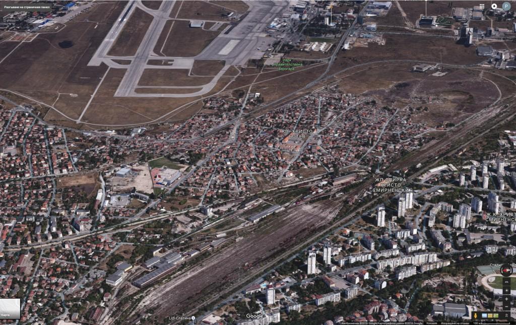"""Квартал """"Христо Ботев"""" - общ изглед от птичи поглед (източник: Google Maps)"""