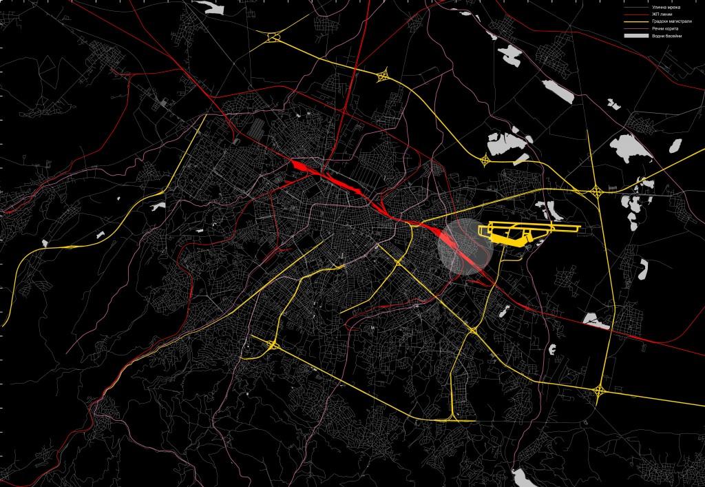 Карта 1 - София - инфраструктурни бариери (източник: авторът)