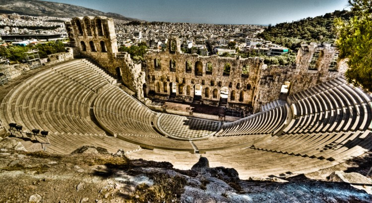 Odeon of Herodes Atticus, an amphitheater built on the south slope of the Athenian Acropolis, restored with new marble and used for theatre and musical events