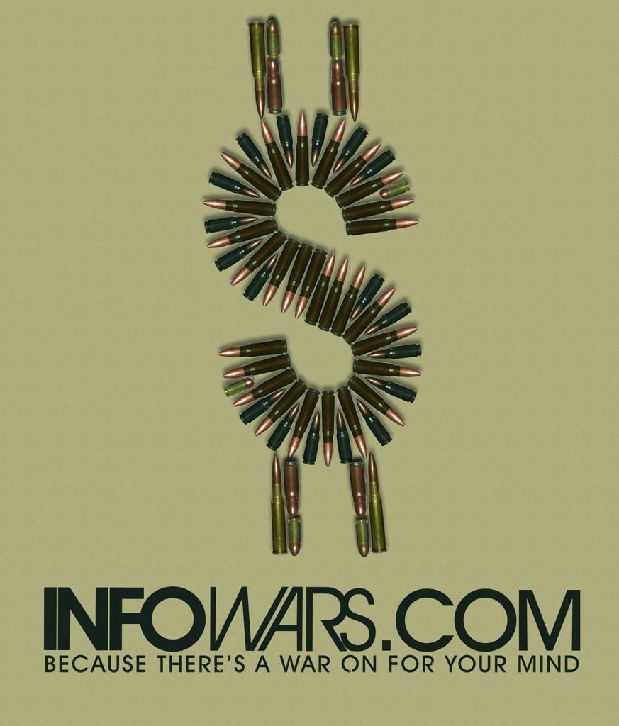 """Лого на Инфо Войни, отново с надпис """"Защото има война за твоя разум"""" на пръв поглед незапознатите с Алекс Джоунс биха се заблудили, че това е антивоенно/антиимпериалистическо послание на леви активисти"""