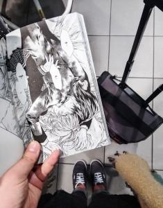 """Първата страница от """"Neko to Watashi no Kinyoubi"""", която отворих, докато чаках влака за Тюбинген. Автор на мангата: Арина Танемура"""