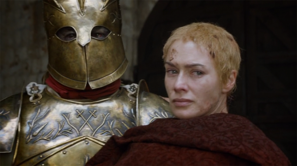 """В тази сцена Ръката Кибърн обяснява, че Сър Грегор няма да проговори, докато всички врагове на Кралството не са мъртви. По-мъртви от него, вероятно. """"Игра на тронове"""", епизод 10, сезон 5, собственост на HBO."""