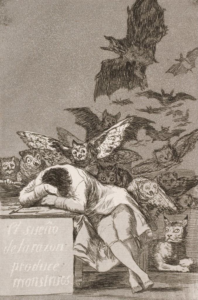 """""""Сънят на разума ражда чудовища"""", офорт на Франсиско Гоя (1799 г.)"""