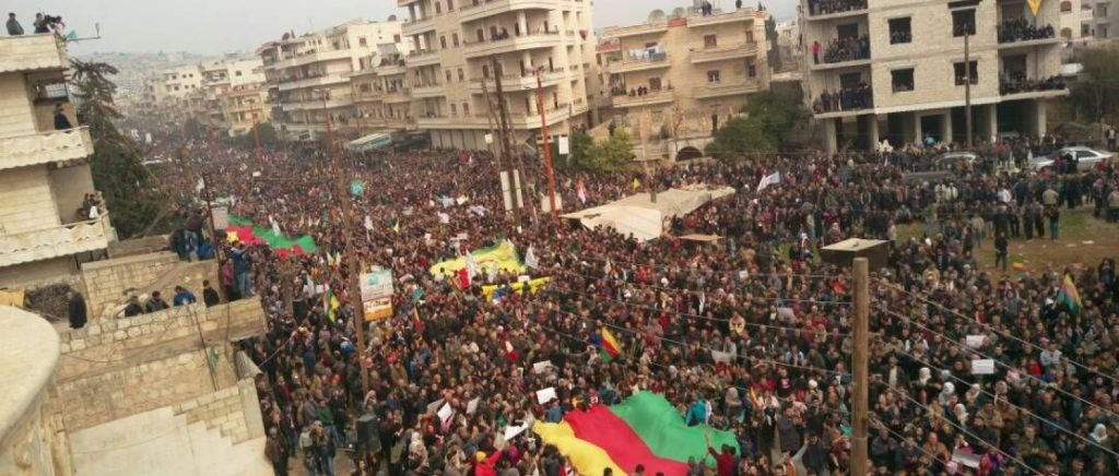 rally in afrin against the turkish invasion