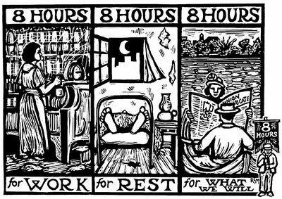 Плакат от кампанията за 8-часов работен ден. Източник
